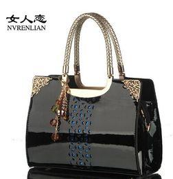 Wholesale Cheap Burgundy Bags - 2015 Cheap Fashion Rectangle PU Leather Womens Handbag with Removable Strap Shoulder Bags Retro Hollow Handbag Messenger Bag Totes MYF50