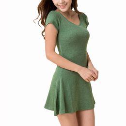 Wholesale S5Q Women Summer Short Sleeve T SHIRT Sundress Pure Cotton Casual Mini Dresses AAAENN