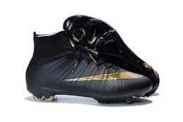 Wholesale Nike Men s Mercurial Superfly FG Soccer Cleats Sock Boots Superfly Shoes Football Shoes Black Gold