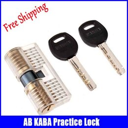 Wholesale NEW Transparent material Cutaway Practice Pins Brass Both End Lock Quick Open Practice Lock With Keys Locksmith Tools sale