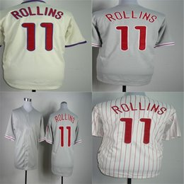 Factory Outlet Mens Womens Kids Toddlers Philadelphia 11 Jimmy Rollins Beige Grey White Best Quality Cheap Stitched Logos Baseball Jerseys
