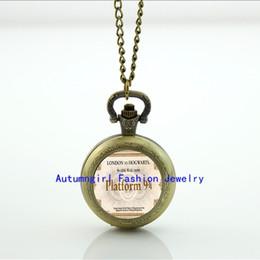 Wholesale Express train ticket Pocket Watch Platform jewelry Photo Locket Necklace Vine Pocket Watch Necklace WT