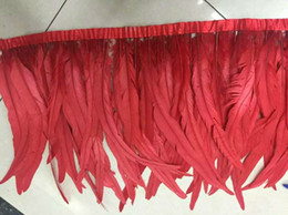 Free Shipping 10yards 14-16inch wide red coque Rooster feather trimming fringe rooster trim Wholesale Bulk Supply Crafts wedding Design