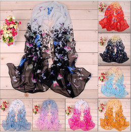 Wholesale Women scarves and sell of cute little butterfly printed chiffon scarves DHL