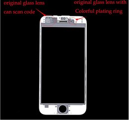 Wholesale Original for iphone plus Front Glass Lens Pre attached Middle Frame Bezel Outer Glass Screen Replacement For iphone
