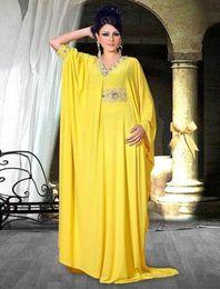 Yellow Muslim Long Evening Dresses Long sleeve Custom made Beads Fashion Saudi Arabia Luxurious 2016 Women Prom party dress