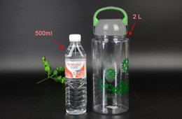 Wholesale-water bottle 2000ml 2L 2 style 3 color for you choice top quality big capacity water bottle transparent bottle free shipping