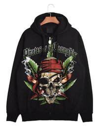 Wholesale Mens Pirate Skeleton Designs American Apparel Black Fleece Hoodies Pulloever