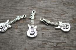 Wholesale 25pcs Guitar Charms Antique Tibetan Silver Tone Guitars Charm Pendants x11mm