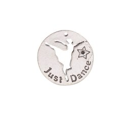 New arrive 10PCS Antiqued Silver Metal Just Dance Round Charms #92024