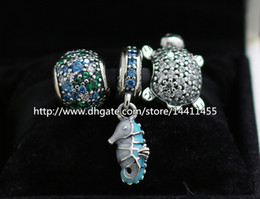925 Sterling Silver Charms and Murano Glass Bead Set Fits European Pandora Jewelry Charm Bracelets-Ocean Sets