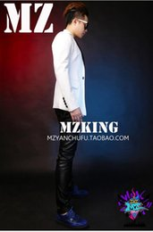 A male singer a nightclub in the Korean version runway looks white black suit costumes of cultivate one's morality. S - 6 xl
