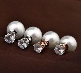 4pair Celebrity Runway White Faux Pearl Beads Round Crystal Plug Earrings Ear Studs