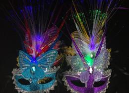 Wholesale Colorful Carnival Masks - Venice Carnival Christmas Halloween Masquerade Birthday Party Colorful butterfly creative personality rain fiber luminous princess mask
