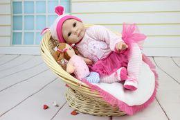 """55cm 22""""Acrylic&Silicone Simulation cloth body Reborn Baby Doll Girl 22NPK303"""