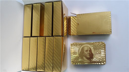 2015 Fashion Best Gift Hot 24K Gold foil plated playing cards Plastic Poker US dollar   Euro Style and General style