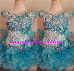 Wholesale Glitz Cupcake Pageant Dresses for Little Girls Baby Beaded Organza Cute Kids Short Prom Gowns Infant Light Blue Crystal Birthday Party Skirt
