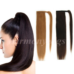 Top quality 100% Human Hair ponytail 20 22inch 100g #4 Dark Brown Double Drawn Brazilian Malaysian Indian hair extensions More colors