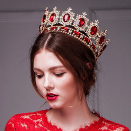 Retro Tiaras & Crowns Hair Accessories Large European Royal Crown Golden Crown Head Imitation Ruby Jewelry Wedding Tiara Crowns Halloween