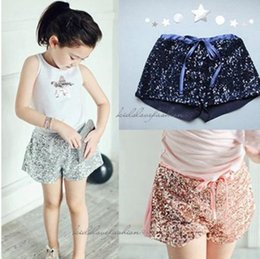 New stock baby girls sequins shorts children's clothing summer arrial Golden Sequins Cotton solid color for age 2-7Y