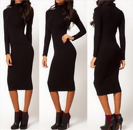 Womens Autumn High Neck and Long Sleeve Dress Knitting Knee Length Dress Package Buttocks Dress