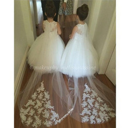 Free Shipping White Or Ivory Lace Applique Flower Girl Veils For Wedding Long Veil For Girl Cheap 1 Layer