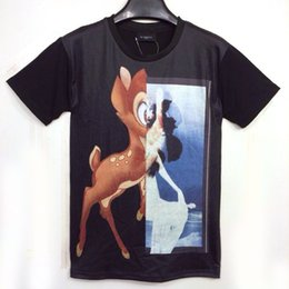 Wholesale new fashion D print Bambi deer with mirror GIV funny short sleeve tee shirt shirts men women causal T shirts