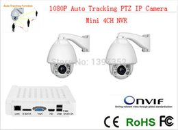 CCTV IP Camera 2pcs +mini NVR IR 150m Auto Tracking ptz High Speed Dome PTZ Camera ip 20x zoom mini nvr 4ch CCTV Security kit