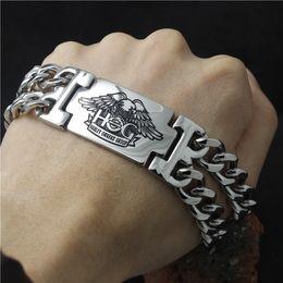 Wholesale 2106 hot sellings L stainless steel mens live to ride eagle biker skull bracelet