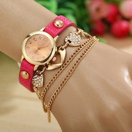9 colors available Love Style New Fashion Leather Wrap Bracelet Watches For Women Dress Watch Quartz Watches