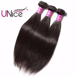 UNice Hair Straight Malaysian Hair Extensions 8-30inch Bundles 1Piece 100%Human Hair Weaves Unprocessed Non Remy Natural Color