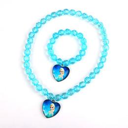 Wholesale House kids stores offer hot girl Anna Anna Elsa frozen princess necklace bracelet Children Jewelry Set