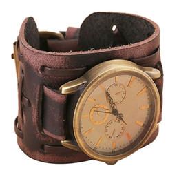 Wholesale 2015 Men s Fashion Belt Watch Quartz Watch New Style Retro Punk Rock Brown Big Wide pu Leather Bracelet Cuff Men Watch Cool yj