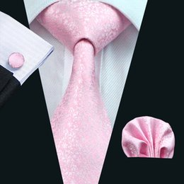 Lazo formal de color rosa en Línea-Rosada de la boda corbata Conjunto del pañuelo de las mancuernas Jacquard Tejido de negocios formal corbata de Trabajo Conjunto para hombre Accesorios de Moda N-0327