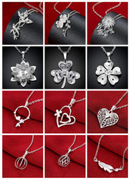 Wholesale mix style silver necklace crystal heart lantern bamboo chrysanthemum plum blossom clover pendant charm necklace