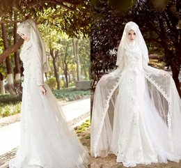 Wholesale Elegant A Line Long Sleeves Arab Muslim Wedding Dresses White Lace Appliques Beads Plus Size Wedding Gowns for Muslims
