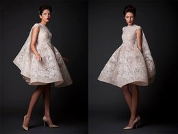 2018 Krikor Jabotian Wedding Dresses Applique Jewel Sleeveless Beach Dresses Knee-Length Satin A-Line Bridal Gowns With Pleats