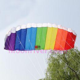 Wholesale Rainbow Sports Beach Kite Power Dual Line Stunt Parafoil Parachute For Beginner
