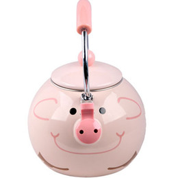 Wholesale Best Enamel Pig Kettle L Porcelain Enamel Teapot Kettle Whistle Kettle Enamelware Drop Shipping dandys