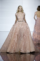 2019 New Zuhair Murad Blush Cap Sleeves Evening Gowns Sheer Illusion Applique Tulle Formal Celebrity Gowns Custom Made Prom Party Dress