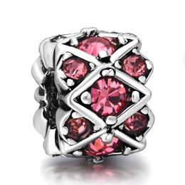 Wholesale Rose Red Crystals Sterling Silver Charms Striped With European Charm fit Pandora Bracelet Snake Chain Jewelry Beads