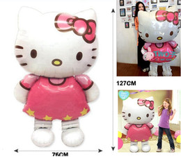 Wholesale 116 cm Oversized Hello Kitty Cat foil balloons cartoon birthday decoration foil party inflatable air balloons safety Balloon best gift
