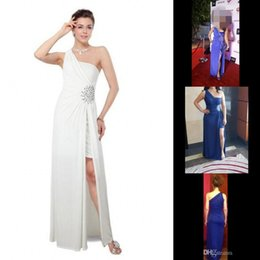 Real Photos Split Side Sequins Long White Evening Dresses 2016 A Line One Shoulder Satin Backless Floor Length Prom Party Gowns