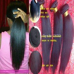 New Arrival 100% Brazilian Virgin Human Hair Extension light yaki Weave Yaki straight Human Hair Weave   Weft High Quality