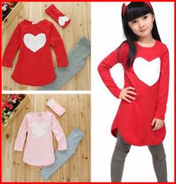 Wholesale 50Sets Fedex TOll Ship New girls love heart Pc Set girls headband Pants Tshirt kids girls clothes sets baby girl long sleeve shirt