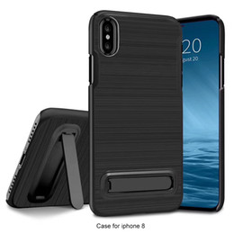 Slim Hard PC Brushed Shockproof Case with Kickstand For iPhone X 7 8G Plus 6 5 Samsung S7 edge S8 Protective Shockproof shell Holder Light