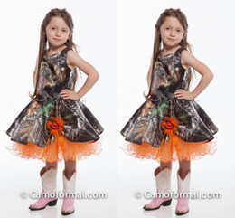 Lovely Girls Wedding Party Dresses 2016 Orange Tulle Ball Gown Camo Flower Girl Dresses Tea Length Realtree Camo Dresses Girls Pageant Gowns
