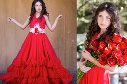 Halter Neck Red Flower Girls' Dresses For Wedding Hand Made Flower Kids Formal Wear Sleeveless Tiered Skirts Girl's Pageant Gowns