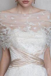 Wholesale Silver Shoulder Wrap Wedding Accessory - Delicate Handmade Off-Shoulder Bridal Wraps Lace-up Lace Bridal Bolero Half Sleeve Bridal Jacket Wraps Free Shipping Lace Wedding Accessory