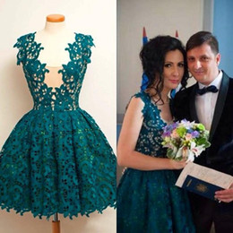 2016 Lace Ball Gown Short Homecoming Dresses Dark Green Lace Prom Dresses Square Neck Graduation Dresses Cocktail Party Gowns